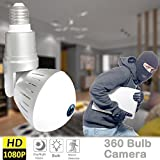 360 Panoramic Bulb WiFi Camera - 360 Panoramic WiFi LED Bulb Camera 1080P FHD Dome Security Surveillance Cameras with Night Vision Motion Detection Alarm for Baby Nanny Pet Cam for Outdoor Indoor