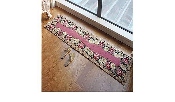 Estera de decoración Tiras de cocina esteras absorbentes puerta corredera dormitorio cabecera manta balcón estera de moda ventana del piso ventana de la bahía de la alfombra (Color: Rosa, Tamaño: B) A: