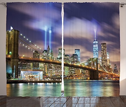 Apartment Decor Curtains by Ambesonne, Manhattan Skyline with Brooklyn Bridge and the Towers of Lights in New York City, Living Room Bedroom Decor, 2 Panel Set, 108W X 90L Inches, Puple Green