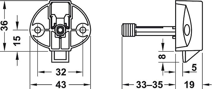 plastique gris carvan de meubles Serrure pour bois /Épaisseur 13/mm avec fermeture Fallen gedotec/® Cylindre Meubles Cylindre de Cara de Latch pour carvan /& Caravane Produit de qualit/é pour votre int/érieur