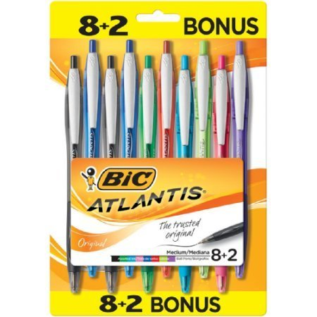 BIC Atlantis Original Ball Pens Fashion Medium Point (1.0mm) 8+2 Bonus Pack, Blister (VCGAP81WB-A-AST) (Bic Rubber Colored Pen)