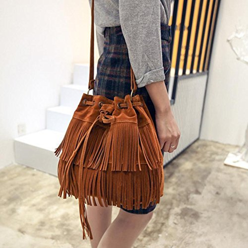 JD Million shop Retro Faux Suede Fringe Women Bag Messenger Bags New Handbag Tassel Shoulder Handbags Crossbody Bag bolsa feminina