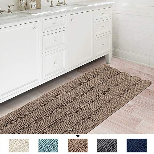 Soft Thick Floor Mat Bath Rug Runner for Bathroom 47x17 inch Oversize Non-Slip Shag Bathroom Rug Machine-Washable Bath Mat Runner with Water Absorbent Striped Rugs for Powder Room, Taupe Brown (Powder Rugs Room)