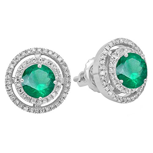 10K White Gold Each 5 MM Round Lab Created Emerald & White Diamond Ladies Halo Stud Earrings