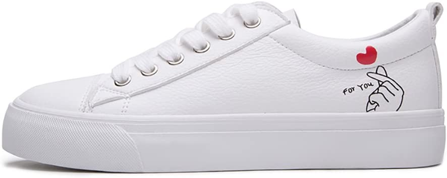 White Shoes Girls Lace-up Casual Shoes