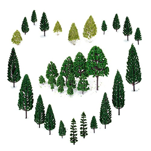 29pcs Mixed Model Trees 1.5-6 inch(4 -16 cm), OrgMemory Ho Scale Trees, Diorama Models, Model Train Scenery, Architecture Trees, Model Railroad Scenery with No Stands (Train Set Plastic)
