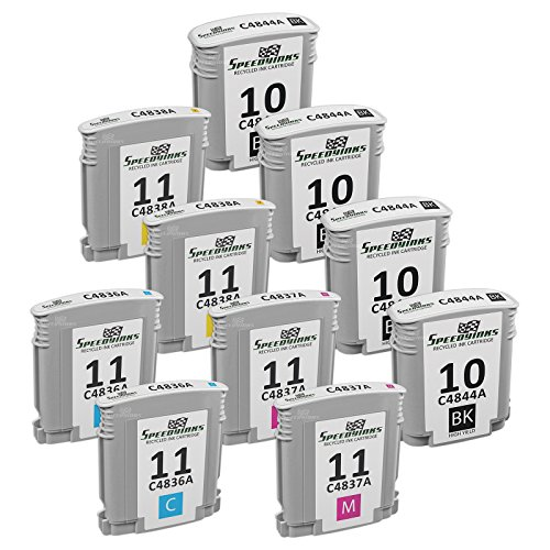 SpeedyInks 10PK Remanufactured Replacement for HP 4x 11 C4844A 2ea C4836A C4837A C4838A Ink Cartridges (Business C4838a Inkjet Hp)
