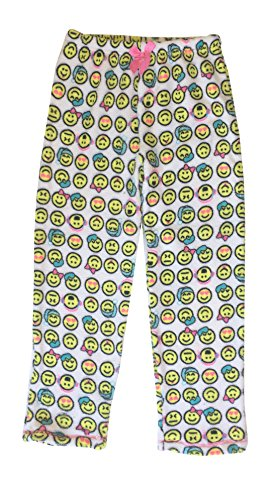 Popular Girl's Fuzzy Fleece Pajama Pants - Emoji - 7/8