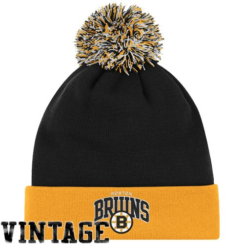 NHL Mitchell & Ness Boston Bruins Throwback Arch and Logo Cuffed Knit Hat - Black/Gold