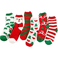 Padgene 6 Pairs Womens Christmas Warm Butter Soft Fuzzy Crew Socks