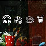 coffee shop window decal - Tea Coffee Shop WIFI Sticker Cafe Window Decor Wall Sticker Glass Sticker, White