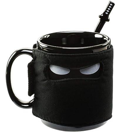 HMKZXQ Taza Ninja Taza de cerámica con máscara Negra con ...