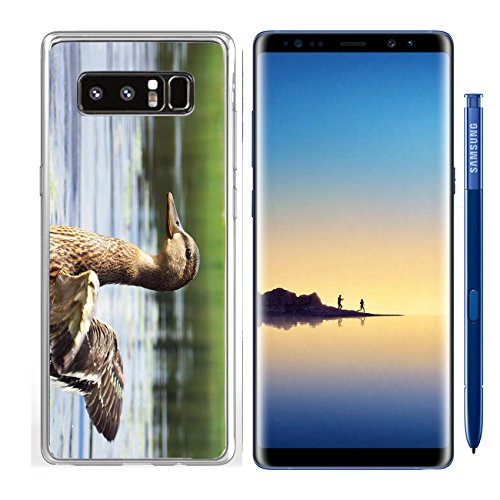 Luxlady Samsung Galaxy Note8 Clear case Soft TPU Rubber Silicone IMAGE ID: 22966872 Juvenile mallard duck Anas platyrhyncos flapping its short wings on a lake growing primary Growing Duck