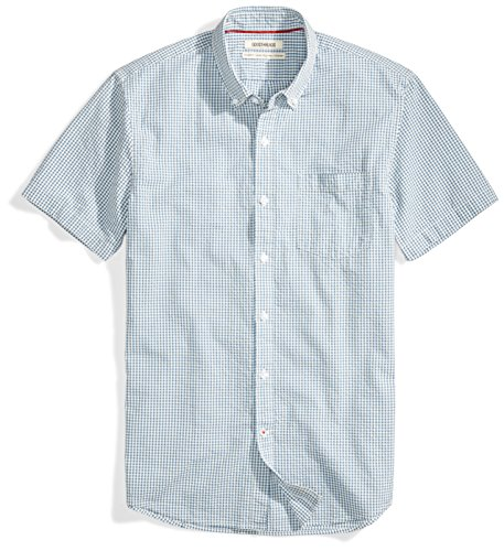Goodthreads Men's Standard-Fit Short-Sleeve Seersucker Shirt, Blue/Off/White Check, X-Large
