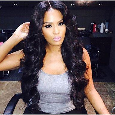 En stock, Full Lace Wig 100% peluca de cabello humanos brasileño ondulado 14 –