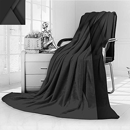 YOYI-HOME Weave Pattern Extra Duplex Printed Blanket Pure Black Desktop Warm Microfiber All Season Custom Design Cozy Flannel Blanket/31.5