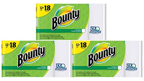Price comparison product image Bounty Paper Towels,  White,  Giant Rolls-12 Count,  Pack of 3