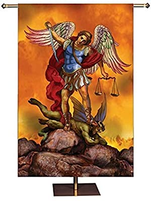 New Church Worship Banner Tapestry Patron Saint St Michael Cloth Picture 3 Foot by Religious Gifts