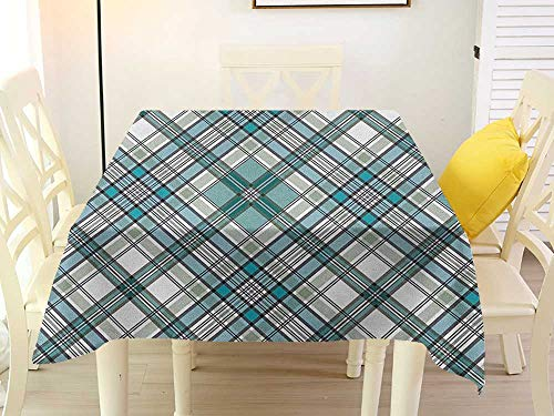 Square Tablecloth for end Table Checkered Vintage Fashion English Country Style with Modern Look in Soft Colors Aqua Pale Grey White White 50 x 50 Inch