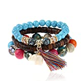JGFinds Stack Beaded Bracelets 3 Pack With Elephant Charm - Glass, Resin and Wood