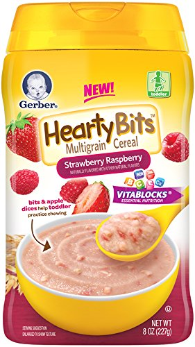 Gerber Baby Cereal Hearty Bits Multigrain Cereal Strawberry Raspberry, 8 Ounce