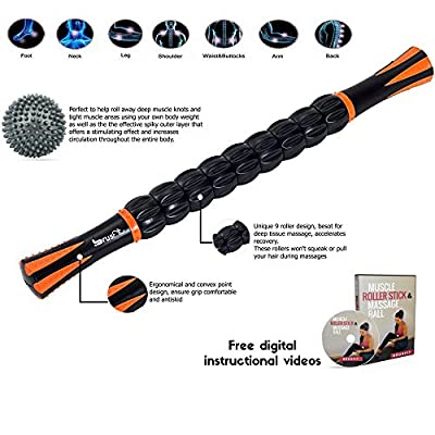 """BrusFit Muscle Roller Stick Massager 18"""" and Spiky Foot & Body Massage Ball 