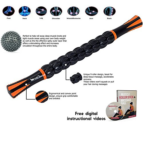 BrusFit-Muscle-Roller-Stick-Massager-18-and-Spiky-Foot-Body-Massage-Ball-Great-For-Trigger-Point-Sports-Sore-Muscles-Therapy-Deep-Tissue-Muscle-Pain-Relief-Free-Instructional-Videos