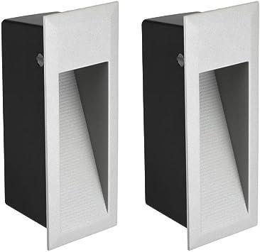 Parlat LED lámpara de Escalera lámpara empotrable en la Pared para el Exterior, Angular, Blanca cálida, 230V, 2 UDS: Amazon.es: Electrónica