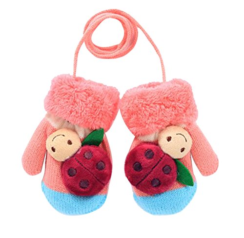 Dorapocket Baby 3D Creative Cartoon Ladybug Toddler Gloves Kids Warm Mittens,Pink&Blue ()