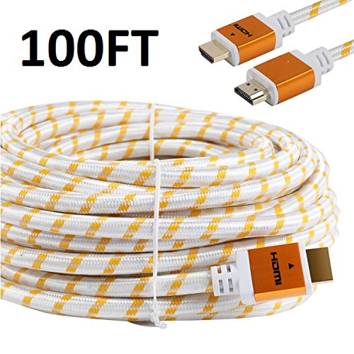 CableVantage HDMI Braided PS4 Xbox One HDMI Cable 18Gbps Premium Braided Cord -Gold Plated Connectors -Ethernet,Audio Return -Video HD 1080p,3D -Xbox Playstation PC Computer Monitor White (100FT)