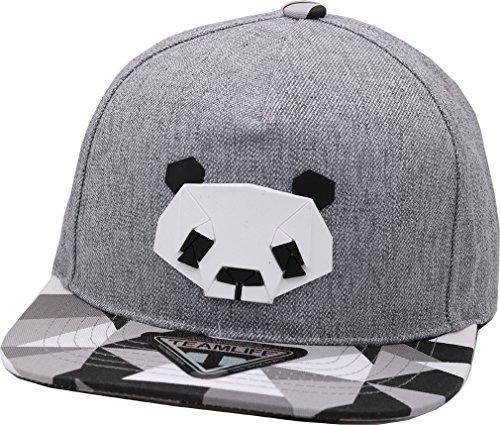 (sujii PAPER FOLD B-Boy Hip Hop Snapback Hat Trucker Baseball Cap/Panda & Grey)
