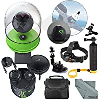 360Fly 4K Action Camera and Deluxe Accessory Bundle with Camera Mounts + Floating Hand Grip + Clip Clamp + Case + Fibertique Cleaning Cloth