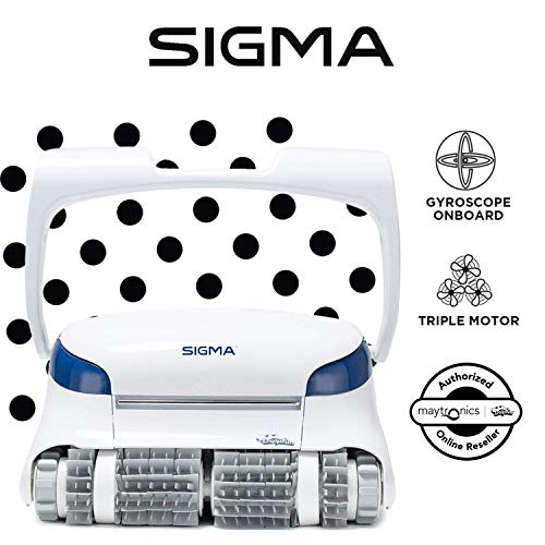(Dolphin Sigma Robotic Pool Cleaner with Bluetooth and Massive Top-Load Cartridge Filters, Ideal for Pools up to 50 Feet.)