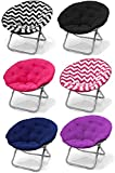 Large Purple Microsuede Folding Saucer Moon Chair - Lightweight Construction & Oversized Comfy Padded Cushion. Multiple Vibrant Colors & Chevron Prints - Coordinates with Both Childrens and Adults Furniture. 100% Satisfaction Guaranteed - Order with Confi