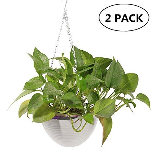 Garden Pots 2pcs, Petforu Hanging Flower Basket EMPTY Flowerpot Plant Hooks Hangers - WHITE (Basket Plant Pots)