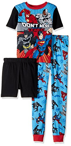 Justice League Big Boys' 3-Piece Cotton Pajama Set, Knights-Of-Night Black, 8 (Pajamas Superhero)