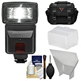 Precision Design DSLR300 High Power Auto Flash with Case + Diffuser + Reflector + Kit for Nikon D3200, D3300, D5300, D5500, D7100, D7200 DSLR Cameras