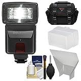 Precision Design DSLR300 High Power Auto Flash with Case + Diffuser + Reflector + Kit for Nikon D3200, D3300, D5300, D5500, D7100, D7200 DSLR Cameras