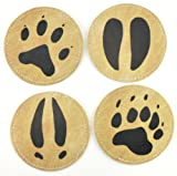 Stitched Leather Look Vinyl Coaster Set with Wildlife Animal Imprints, Set of 4