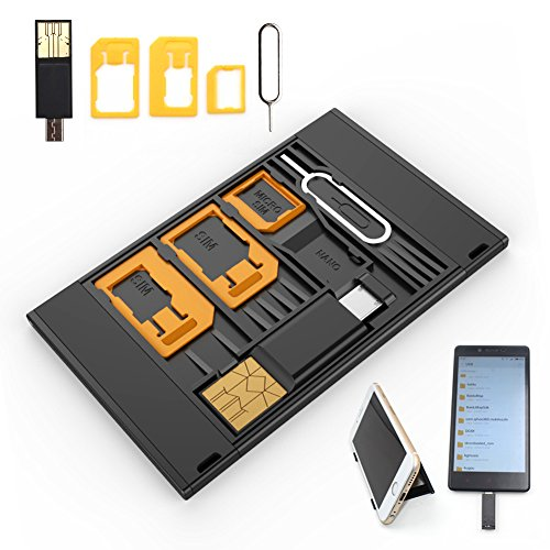 Shinymod Nano SIM Card Micro Sim Card MicroSD Card Case Storage Phone Holder with 3 SIM Card Adapters, 1 Micro USB OTG Reader and Smartphone Tray Opener Holds 4 SIM Cards 1 Micro 1 Nano 1 TF Card from SHINYMOD