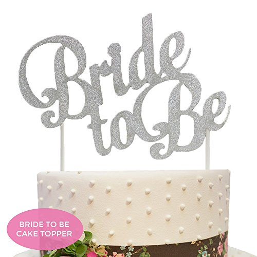 Bride Cake (Bride To Be Cake Topper - Silver Bachelorette Party Gift, Bridal Shower)