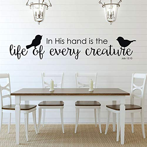 Vinyl Decal Quote Art Wall Sticker Inspirational Quotes Bible in His Hand is The Life of Every Creature for Living Room Bedroom (A Bird In The Hand Winnie The Pooh)