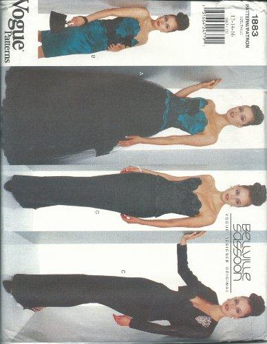 Vogue 1883B Sewing Pattern Misses Bellville Sassoon Design Evening Wear Size - Vogue Evening Wear
