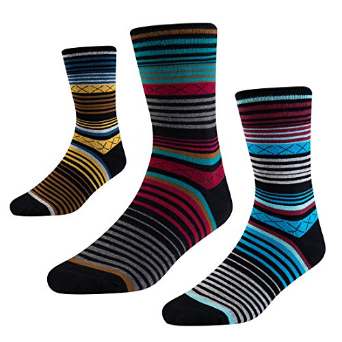 Mens Dress Socks-Striped Crew Socks with Funky Colorful Patterned-Novelty Socks with Comfort Combed Cotton US Size 8-12 3 Pack SEESILY (3 Pack Crew Socks)