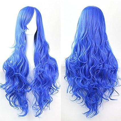Mujeres Ladies Girls 80cm Azul marino Color de largo rizado pelucas del partido del Anime alta
