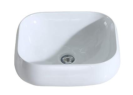 Eridanus Serie Kengo, Lavabo di Ceramica Bianco Lusso Lavandino Lavello  Lavamano Lavabo da Appoggio Rettangolare Quadrato Bacinella Lavandino  Lavello ...