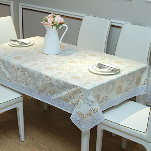 JFFFFWI PVC Table Cloth,Waterproof and Oil-Proof and Ironing-Free Plastic sheeting Art,Hotels lace Garden Tablecloth Soft Glass-A 136x180cm(54x71inch)