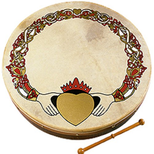 Waltons Bodhrán 12″ (Claddagh) – Handcrafted Irish Instrument – Crisp & Musical Tone – Hardwood Beater Included w/ Purchase