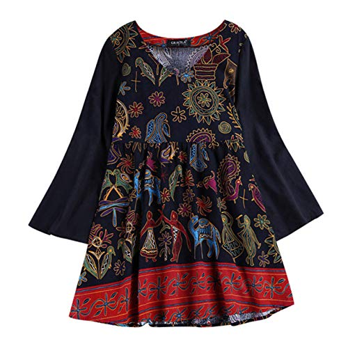 TIFENNY Women's Casual Plus Size Pullover Loose Cotton Linen Vintage National Style Print Long Tops Shirt Blouse