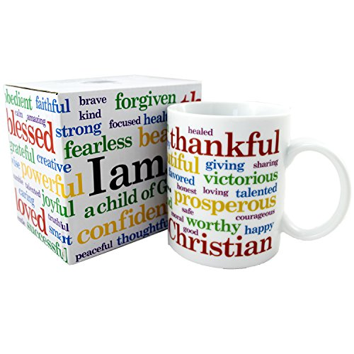 The I AM Declaration Christian Coffee Mug - 11 oz, Ceramic, BPA Free, FDA Approved, Dishwasher Safe, Microwave Safe, Beautiful Gift Box, Great Faith Based Gift for Family, Friends or Personal Use by National Concepts